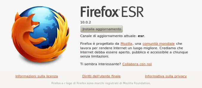 aggiornamento di Firefox per Linux