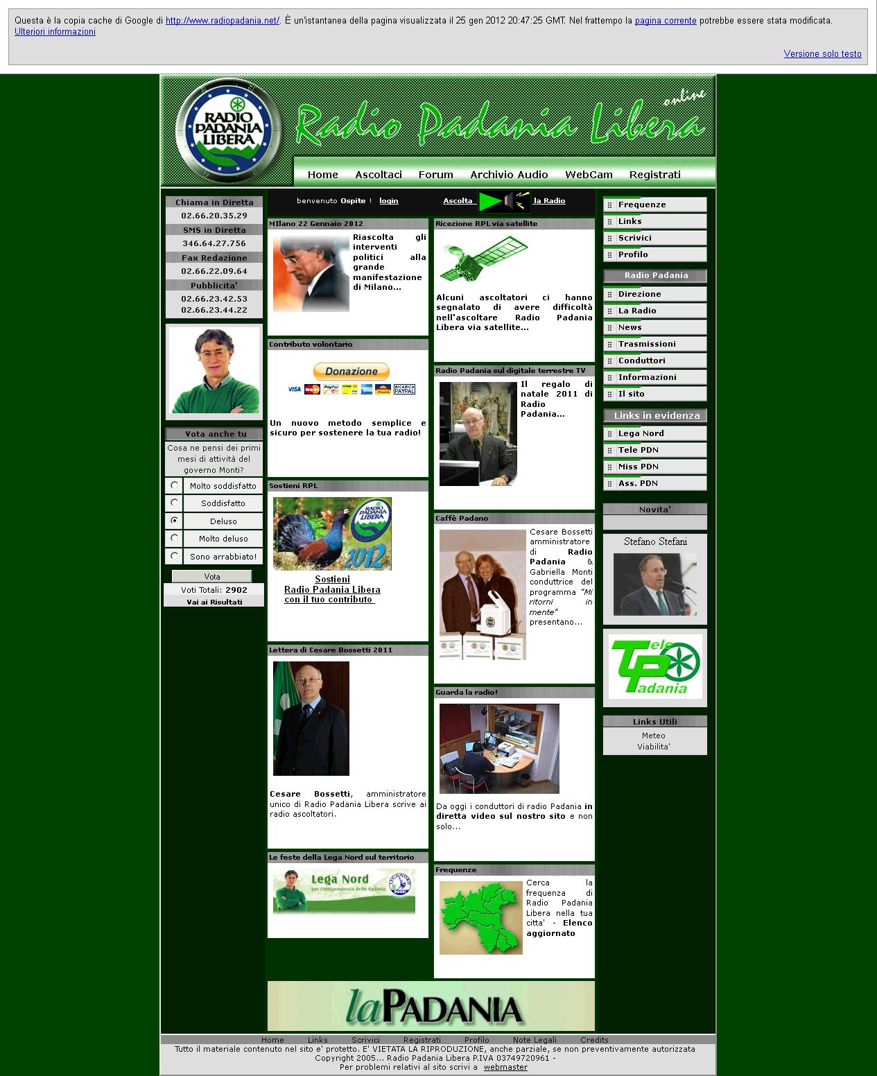 """screenshot della Home Page di """"Radio Padania 'Libera'"""" con il sondaggio"""